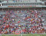 Fans leave the stadium during a weather delay due to lightning vs. Arkansas at Reynolds Razorback Stadium in Fayetteville, Ark. on Saturday, October 23, 2010. There were two delays for weather. Arkansas won 38-24.