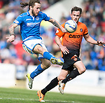 St Johnstone v Dundee United...19.04.14    SPFL<br /> Stevie May attempts to lob keeper Radoslaw Cierzniak<br /> Picture by Graeme Hart.<br /> Copyright Perthshire Picture Agency<br /> Tel: 01738 623350  Mobile: 07990 594431