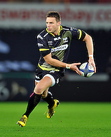 Dan Biggar of the Ospreys in possession. European Rugby Champions Cup match, between the Ospreys and Bordeaux Begles on December 12, 2015 at the Liberty Stadium in Swansea, Wales. Photo by: Patrick Khachfe / JMP