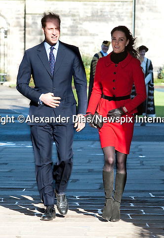 """PRINCE WILLIAM & KATE MIDDLETON_St Andrews Royal Engagement.Prince William, accompanied by Miss Catherine Middleton attended the 600 Anniversay celebrations at St Andrews University.William and Kate meet at the University whilst studing.St Andrews_Fife_Scotland_25/02/2011.Mandatory Photo Credit: ©Dias/NEWSPIX INTERNATIONAL..**ALL FEES PAYABLE TO: """"NEWSPIX INTERNATIONAL""""**..PHOTO CREDIT MANDATORY!!: Newspix International(Failure to credit will incur a surcharge of 100% of reproduction fees)..IMMEDIATE CONFIRMATION OF USAGE REQUIRED:. Newspix International, 31 Chinnery Hill, Bishop's Stortford, ENGLAND CM23 3PS.Tel:+441279 324672  ; Fax: +441279656877.Mobile:  0777568 1153.e-mail: info@newspixinternational.co.uk"""