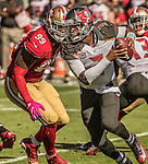 San Francisco 49ers defensive end DeForest Buckner (99) rushes Tampa Bay Buccaneers quarterback Jameis Winston (3) on Sunday, October 23, 2016, at Levis Stadium in Santa Clara, California. The Buccaneers defeated the 49ers 34-17.