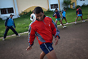 The Indian Kabbadi team are seen doing stretch exercises at a month long camp in Sport Authority of India Sports Complex in Bisankhedi, outskirts of Bhopal, Madhya Pradesh, India.