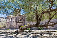 San Javier mission in the mountain country near Loreto, circa 1700, Baja, Mexico.