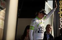 Dwars door Vlaanderen 2012.Koen de Kort salutes