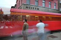 Tram passing in front of the Museum of the Assassination of Franz Ferdinand, on the spot where, on the 28th June 1914, Gavrilo Princip assassinated Archduke Franz Ferdinand, an act which led to the outbreak of the First World War, Sarajevo, Bosnia and Herzegovina. Picture by Manuel Cohen