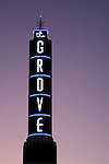 Lit sign for the Grove at dusk in Los Angeles, CA