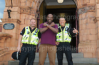 Film director Cass Pennant having some laughs with a couple of police officers during the Merthyr Rising Festival 2016 in Merthyr Tydfil on Saturday June 4th and Sunday June 5th 2016. <br /> <br /> <br /> Jeff Thomas Photography -  www.jaypics.photoshelter.com - <br /> e-mail swansea1001@hotmail.co.uk -<br /> Mob: 07837 386244 -