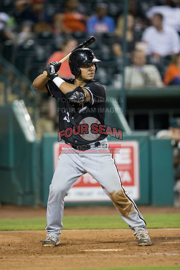 Daniel Gonzalez (23) of the Kannapolis Intimidators at bat against the Greensboro Grasshoppers at NewBridge Bank Park on July 7, 2016 in Greensboro, North Carolina.  The Dash defeated the Pelicans 13-9.  (Brian Westerholt/Four Seam Images)
