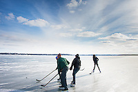 """Lake Monona Ice Hockey""  Madison, Wisconsin 
