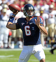 Oct 2, 2010; Charlottesville, VA, USA; Virginia Cavaliers quarterback Marc Verica (6)during the game against the Florida State Seminoles  at Scott Stadium. Florida State won 34-14.  Mandatory Credit: Andrew Shurtleff-