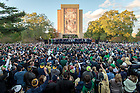 Oct. 16, 2015; The football team and fans sing the Alma Mater to end the pep rally before the game against USC. (Photo by Matt Cashore/University of Notre Dame)