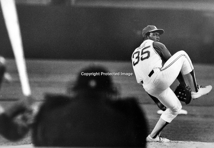 Oakland Athletics Vida Blue winds up for delivery.<br />(1971 photo by Ron Riesterer)