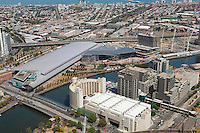 Aerial views of Melbourne's Exhibition center with Yarra River and South Melbourne behind.<br />