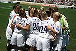 24 August 2003: The Freedom players huddle before the start of the game. The Washington Freedom defeated the Atlanta Beat 2-1 in golden goal overtime to win the WUSA Founders Cup III championship game played at Torero Stadium in San Diego, CA.