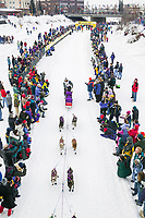Musher Marcel Marin at the start of the 1000 mile 2004 Yukon Quest in Fairbanks, Alaska