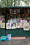Parisian newsstand selling vintage magazines and books, Paris, France