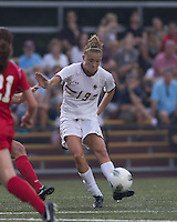 Boston College midfielder Kristen Mewis (19) passes the ball. After 2 complete overtime periods, Boston College tied Boston University, 1-1, after 2 overtime periods at Newton Soccer Field, August 19, 2011.