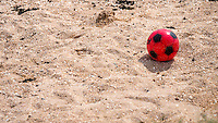 Red Football on Beach - Jun 2014.