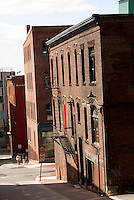 Narrow street in the city of Saint John, New Brunswick, Canada