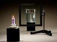 ILLUSION OF CANDLE BURNING UNDERWATER<br /> (Variations Available)<br /> Pane of Glass Acts as  Window &amp; Plane Mirror<br /> The burning candle seen in the water is the reflected image of the candle in front.