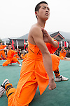 Shaolin Kung Fu student during performance at the opening ceremony of Zhengzhou International Wushu Fetival in DengFeng, Henan, China 2014