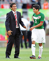 Mexico assistant coach Jorge Campos and Ricardo Osorio after the game against Iran.  Mexico defeated Iran 3-1 during a World Cup Group D match at Franken-Stadion, Nuremberg, Germany on Sunday June 11, 2006.