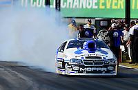 May 18, 2012; Topeka, KS, USA: NHRA pro stock driver Allen Johnson during qualifying for the Summer Nationals at Heartland Park Topeka. Mandatory Credit: Mark J. Rebilas-