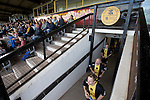 Berwick Rangers 5 East Stirlingshire 0, 23/08/2014. Shielfield Park, Scottish League Two. The home players emerge from their dressing room on to the pitch at Shielfield Park, before the Scottish League Two fixture between Berwick Rangers and East Stirlingshire. The home club occupied a unique position in Scottish football as they are based in Berwick-upon-Tweed, which lies a few miles inside England. Berwick won the match by 5-0, watched by a crowd of 509. Photo by Colin McPherson.