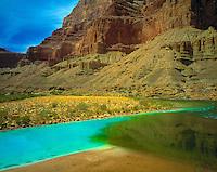 Confluence of Colorado & Little Colorado, Grand Canyon National Park, Arizona   Blue wtares from Little Colorado, Green from Colorado End of Marble Canyon