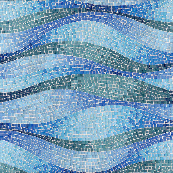 Brighton Wave, a hand-cut mosaic, shown in Bizazza glass.