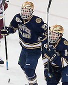 Austin Wuthrich (ND - 27), Thomas DiPauli (ND - 14) - The visiting University of Notre Dame Fighting Irish defeated the Boston College Eagles 7-2 on Friday, March 14, 2014, in the first game of their Hockey East quarterfinals matchup at Kelley Rink in Conte Forum in Chestnut Hill, Massachusetts.