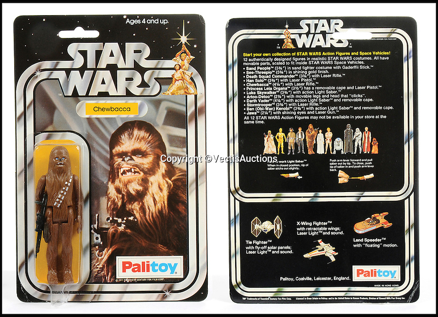 BNPS.co.uk (01202 558833)<br /> Pic: Vectis/BNPS<br /> <br /> Palitoy Star Wars Chewbacca 3 3/4&quot; Vintage Figure, Mint sold for &pound;2,040.<br /> <br /> A tiny plastic rocket from a Star Wars action figure has sold for almost &pound;2,000 as part of a huge &pound;160,000 sale of rare toys relating to the film franchise.<br /> <br /> The red missile measures just 28mm long and was attached to the back of a prototype figure of bounty hunter Boba Fett.<br /> <br /> A complete prototype Boba Fett can sell for &pound;13,000 but thanks to a letter of authentication and grading by the Action Figure Authority (AFA), the small rocket made &pound;1,920 by itself at auction.<br /> <br /> It was one of almost 700 Star Wars lots that sold for &pound;160,000, with many toys that originally sold for &pound;1.50 achieving four-figure sums.<br /> <br /> With the release of Star Wars:The Force Awakens imminent, interest in memorabilia from the franchise has never been higher.