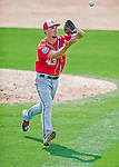 29 February 2016: Washington Nationals pitcher A.J. Cole fields an infield pop-up during an inter-squad pre-season Spring Training game at Space Coast Stadium in Viera, Florida. Mandatory Credit: Ed Wolfstein Photo *** RAW (NEF) Image File Available ***