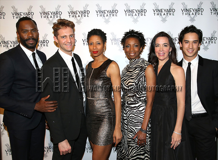 Colman Domingo, Colin Hanlon, Libya Pugh, Sharon Washington, Finnerty Steeves and Michael Rosen attends the cocktail party for the Vineyard Theatre 2016 Gala at the Edison Ballroom on March 14, 2016 in New York City.
