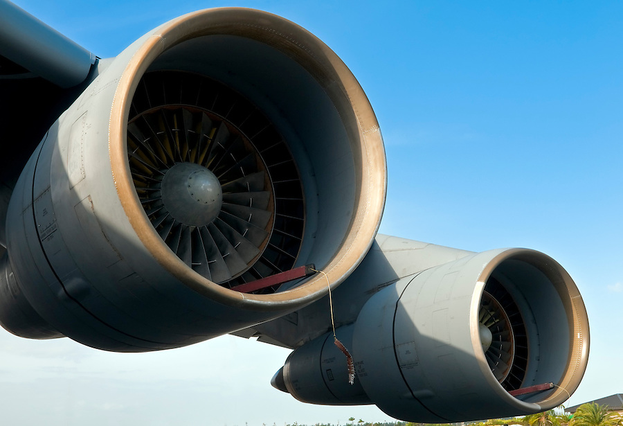 Close up of powerful  airplane turbines  under wings.