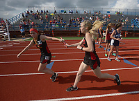NWA Democrat-Gazette/BEN GOFF @NWABENGOFF<br /> Athletes compete Thursday, April 20, 2017, during the McDonald Relays at Fort Smith Southside.
