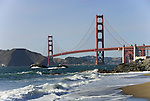 San Francisco: Baker Beach with Golden Gate Bridge in background.  Photo # 2-casanf83469.  Photo copyright Lee Foster