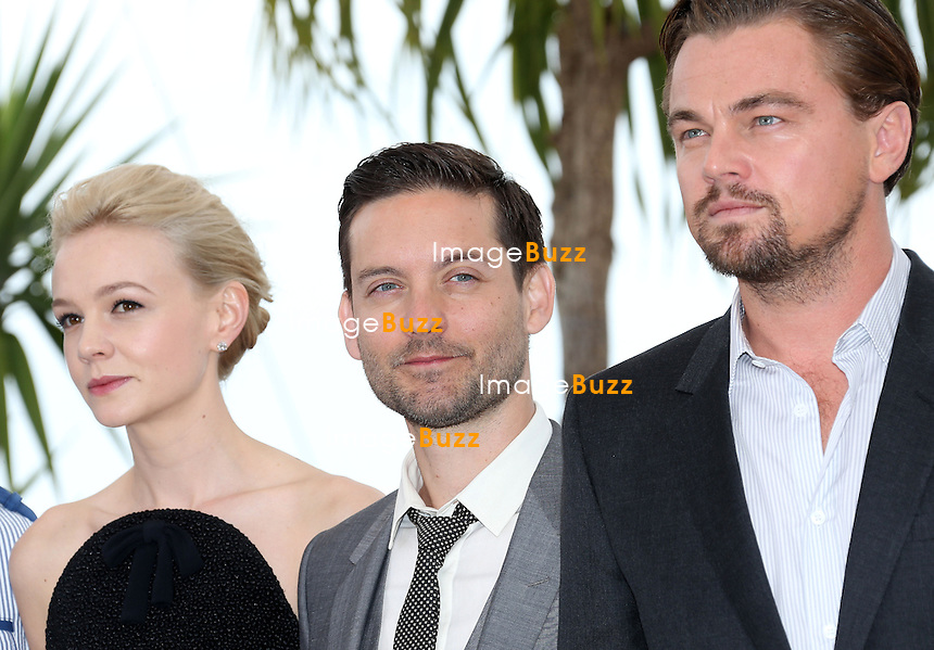 CPE/Toby Maguire, Carey Mulligan and Leonardo DiCaprio attend 'The Great Gatsby' photocall on May 15, 2013 in Cannes, France.