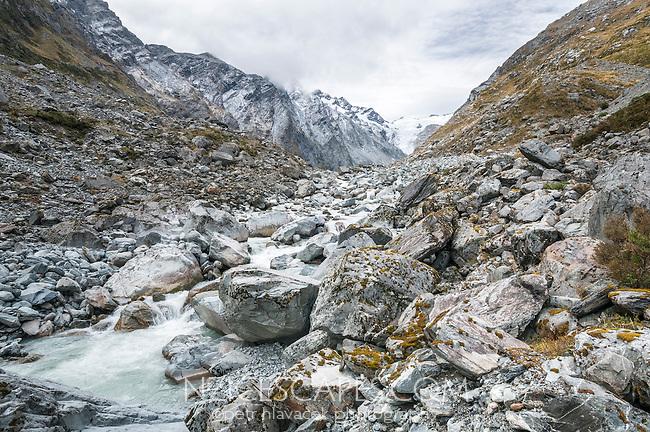 Upper, bouldery Butler River near Ice Lake and Butler Range, Westland National Park, West Coast, New Zealand
