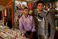 Rafah, Gaza Strip, 21 Nov 2009.Almost a year after the 'Cast Lead' operation, 'normal' life gradually comes back....A perfume shop. Rafah is the richest city in Gaza due to the proximity of the Egyptian border and the hundreds of smggling tunnels running under it.
