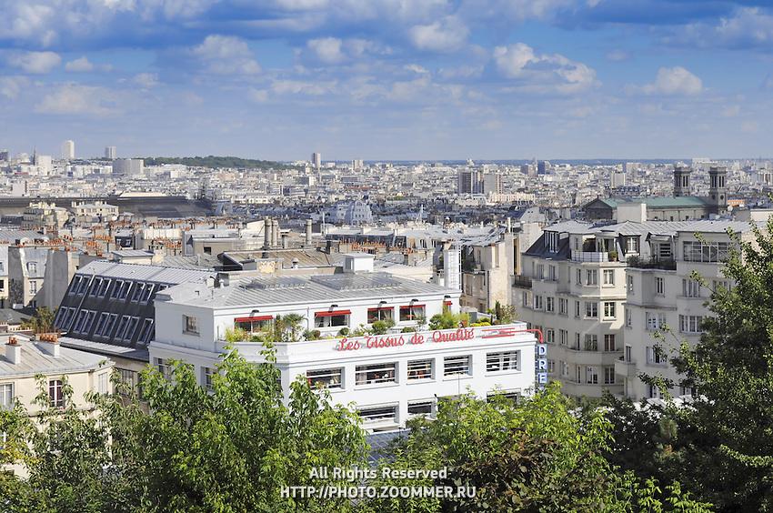 Cityscape of Montmartre district, Paris. White roofs of the parisian architecture