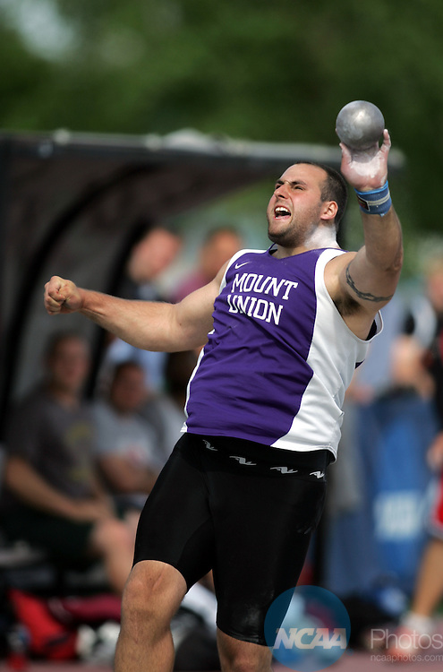 24 MAY 2008:  Mount Union College senior Dan Gund competes in the shot put finals during the Men's Outdoor Track & Field Championships held at J.J. Keller Field on the University of Wisconsin, Oshkosh campus in Oshkosh, WI.  Gund won the event with a put of 17.44 meters.  Al Fredrickson/NCAA Photos