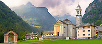 Baroque church at Sonogno, Val Verzasca, Tocino, Swiss alps