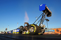 Jan. 19, 2012; Jupiter, FL, USA: NHRA top fuel dragster driver Brandon Bernstein during testing at the PRO Winter Warmup at Palm Beach International Raceway. Mandatory Credit: Mark J. Rebilas-
