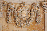Sculptural detail of a garland in the Royal Chapel, on the second floor of the Phare de Cordouan or Cordouan Lighthouse, built 1584-1611 in Renaissance style by Louis de Foix, 1530-1604, French architect, located 7km at sea, near the mouth of the Gironde estuary, Aquitaine, France. This is the oldest lighthouse in France. There are 4 storeys, with keeper apartments and an entrance hall, King's apartments, chapel, secondary lantern and the lantern at the top at 68m. Parabolic lamps and lenses were added in the 18th and 19th centuries. The lighthouse is listed as a historic monument. Picture by Manuel Cohen