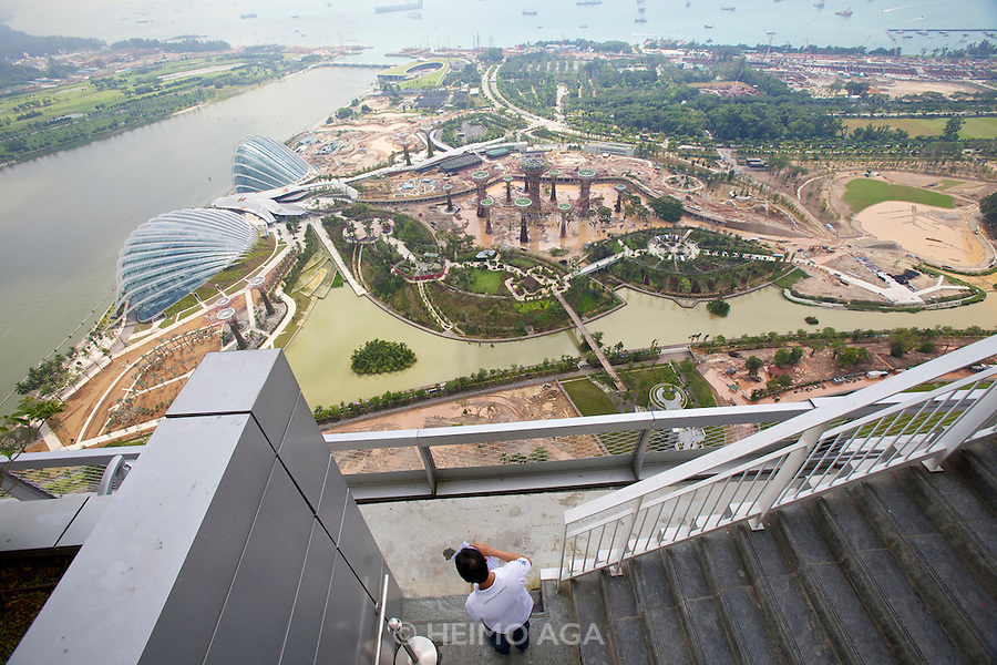 Singapore. Marina Bay Sands. View over construction site of Super Bowl Golf and Country Club.
