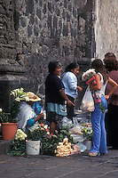Women selling flowers and produce in Xochimilco, Mexico City, Mexico