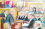 ©PRISCILLA COLEMAN (ITV).PIC SHOWS: CHRIS TARRANT BEING QUESTIONED BY NICHOLAS HILLIARD QC DURING THE TRIAL OF THE INGRAMS AND WHIITOCK OVER THE ALLEGED FRAUD OF WHO WANTS TO BE A MILLIONAIRE..ARTWORK BY: PRISCILLA COLEMAN (ITV)