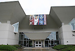 27 August 2006: A banner hangs outside the Hall of Fame honoring the four 2006 inductees: Alexi Lalas, Carla Overbeck, Al Trost, and builder Phil Anschutz. The President's Reception and Dinner were held at the National Soccer Hall of Fame in Oneonta, New York the evening before the 2006 Induction Ceremony.