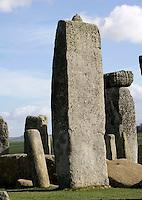 Horseshoe of Sarsen Trilithons (fragment), Stonehenge, Neolithic and Bronze Age megalithic monument, 3050 - 1500 BC, Salisbury, Wiltshire, England, UK. Picture by Manuel Cohen